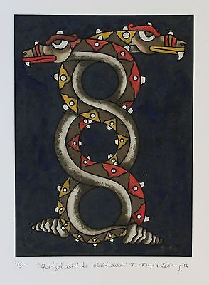 Quetzalcoatl Etching Hand tinted Natural pigments Reyes Gomez Oaxaca Mexican
