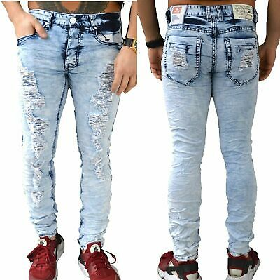 Destroyed Jeans Biker Hose Debim Grau Justing Slim fit  zerissen Used Look 5040R