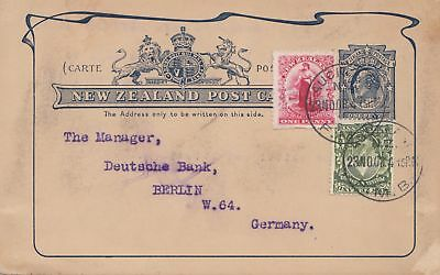 New Zealand 1908: Post card to Germany