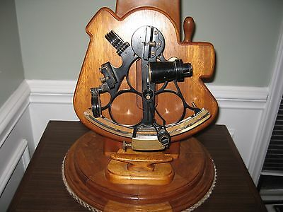 Antique Wilfred O'White's Marine Sextant Mounted on Custom Made Mahogany Lamp