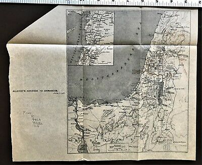 """World War 1 MAP  """"ALLENBY's ADVANCE TO DAMASCUS """"  WWI Syria WW1 Antique & Rare"""