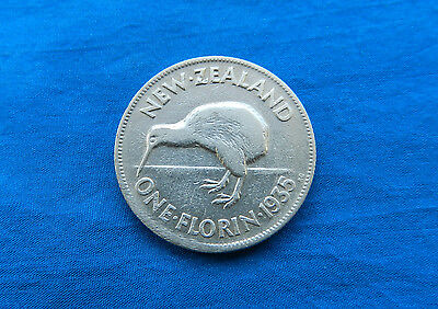 1935 New Zealand 1 Florin Silver Coin *F-VF*