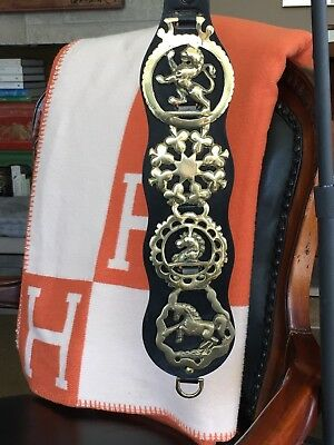 Vintage Horse Harness Brass Medallion Bridle Ornaments Lot of 4 w/ Leather Strap