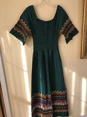 VINTAGE-Guatemalan Dress-Dark Green/Short Sleeves