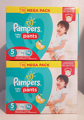 144 (2x72) COUCHES CULOTTES PAMPERS BABY-DRY PANTS TAILLE 5 MEGA PACK 11-18 kg