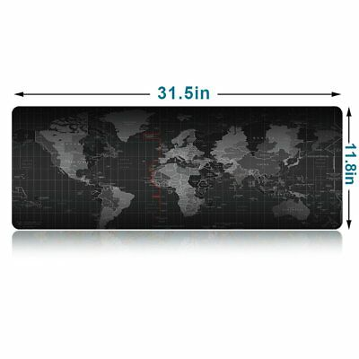 "New Large Mouse Pad Extended Gaming XL 31.5"" x 11.8"" Big Size Desk Mat World Map"