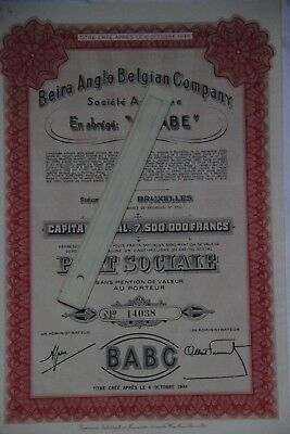 """Beira Anglo Belgian Compagny  """"BEABE"""" Bruxelles"""
