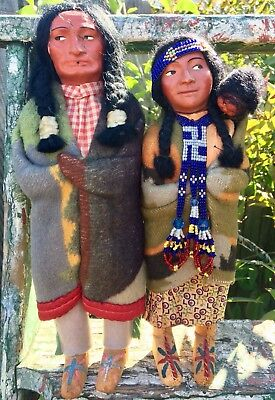 Antique 1920s BULLY Skookum Dolls Whirling Log Beads Leather Moccasins