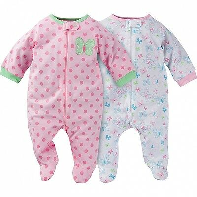 Gerber Baby Girls Sleep N Play 2 Pack NEW Various Sizes Butterfly