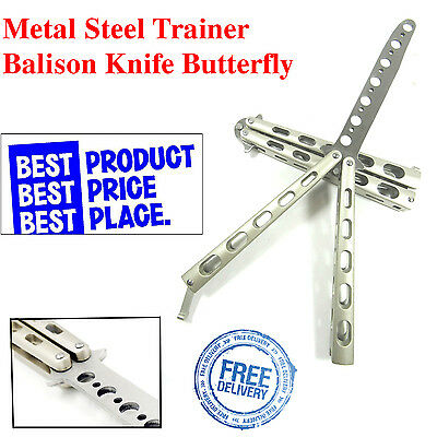 "Butterfly Training Knife Practice Balisong Metal Steel Sheath Dull Tool 9"" Blade"