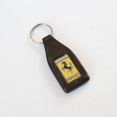 Original vintage Ferrari brown leather key fob with Ferrari emblem