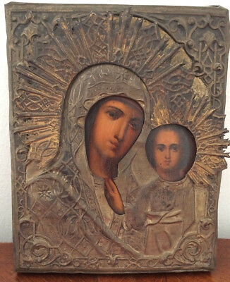 Antique Russian Orthodox Icon of the Virgin of Kazan Silver Risa 19th Century