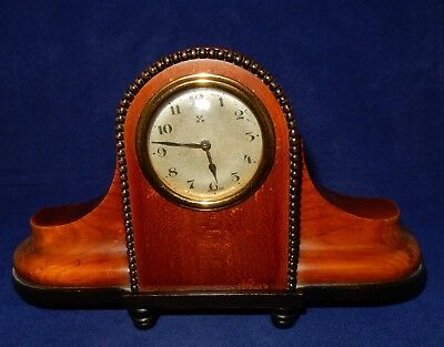 Antique Small Walnut Napoleon Hat / Camel Back  Mantel Clock
