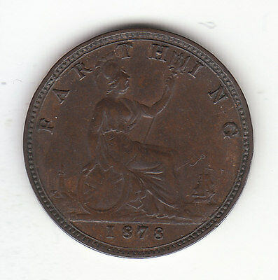 1878 Great Britain Queen Victoria 1 One Farthing. Nice Grade.