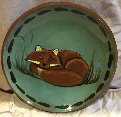 Curled Up Fox Plate Hand Painted