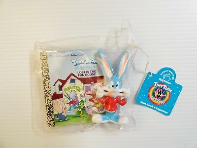 Vintage Tiny Toon Adventures Buster Bunny PVC FIgure with Mini Book Applause WB
