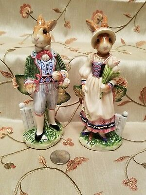 Fitz And Floyd Salt & Pepper Shakers Old World Rabbits Figurines NEW Easter