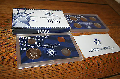 1999 US Coin Proof Set Kennedy Half Dollar State Quarters 9 Coin Free Shipping 9