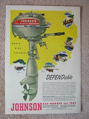 Vintage 1947 Johnson Sea-Horse Outboard Boat Motors World Wide Favorite Print Ad
