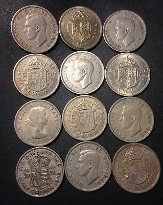 Vintage Great Britain Coin Lot - 12 Great Half Crowns  - Lot #M11