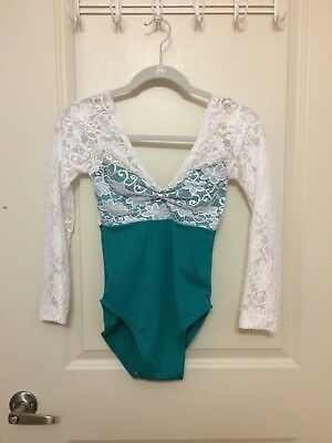 "AlgerDesigns ""Lia"" leotard with lace overlay, size L, worn only once"