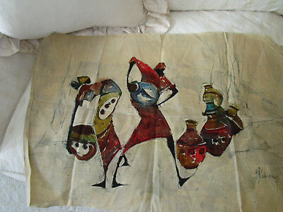 "Vintage African Textile Wall Batik Art of Women & Pottery Signed 31"" x 21.5"""