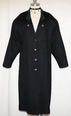 BLACK BOILED WOOL Long OVER COAT Women DISTLER Austria WARM Dress Coat 22 XL 2XL