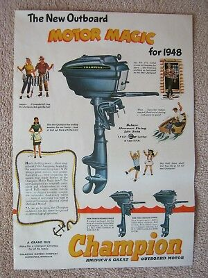 Vintage 1947 Champion 1948 Deluxe Lite Twin Outboard Boat Motor Magic Print Ad