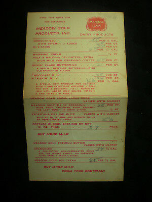Meadow Gold Dairy Products Milk Man Durham/Chapel Hill Schedule Actual Paper