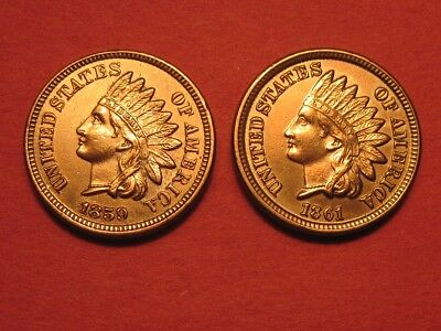 1859 Indian Head Cent & 1861 Indian Head Cent ~ Copper Nickel Dates