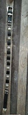"""Stunning Vintage 34"""" Native American Indian Nickle Black  Hairpipe  Concho Belt"""