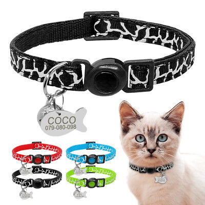 Breakaway Kitten Cat Collar Safety Quick Release & Personalized Dog Cat ID Tags
