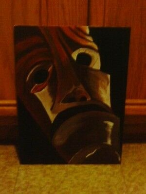 Original Painting  Acrylic African Mask on Canvas Panel