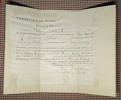 1887 Territory of Idaho Mining Deed from Mary in Leadville Colorado to James