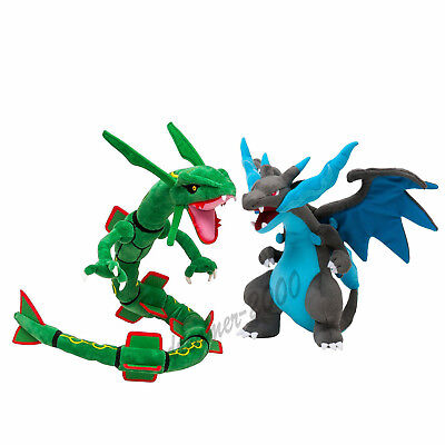 Set of 2 Pokemon Center Rayquaza + Mega Charizard X Plush Doll Soft Figure Toy