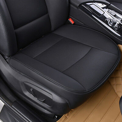 1xPU Leather Deluxe Car Cover Seat Protector Cushion Black Front Cover Universal
