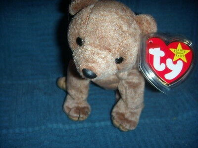 Ty Beanie Baby ~ PECAN the Bear ~ MINT with MINT TAGS ~ RETIRED W/ TAG ERROR