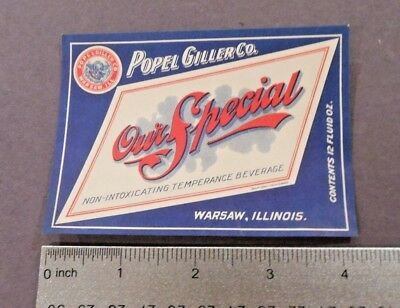 Non-Intoxicating Our Special Beer Label, Popel Giller Co., Warsaw, IL- unused!