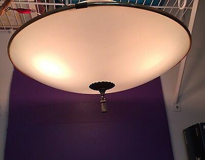 Wired Mid Century Fixture With 3 Sockets And White Glass Shade W/ Finial
