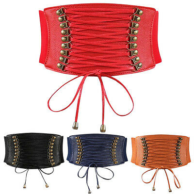 Women Rivet Elastic Boho Wide Band Tied Waspie Corset Waist Cincher Belt Lace Up