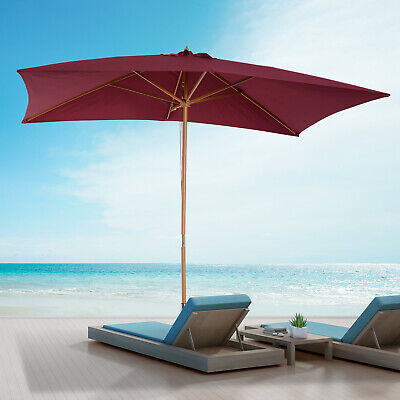 Summer Clearance 7'x10' Wooden Rectangle Patio Sun Umbrella Parasol