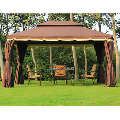 10'x13' Aluminum Frame Double Top Gazebo Canopy w/ Mesh Netting Coffee