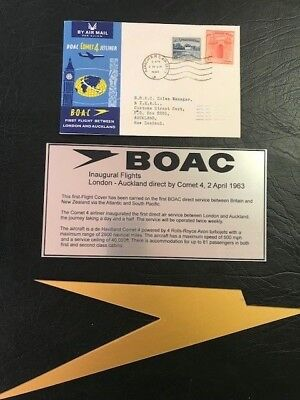 BOAC First flight covers London-Auckland 1963 x 3 plus BOAC items suit framing