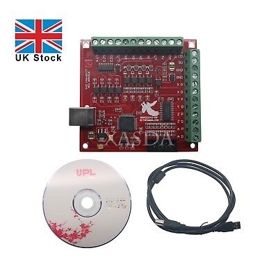 MACH3 100Khz Breakout Board CNC USB 4 Axis Interface Driver Motion Controller UK