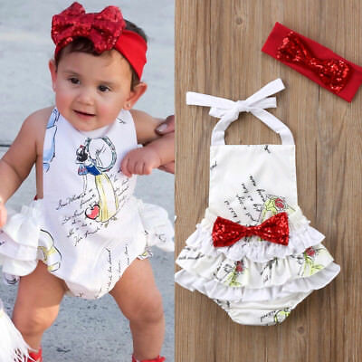 US Sell Newborn Baby Girl Bow Romper Jumpsuit Playsuit Outfit Summer Clothes Set