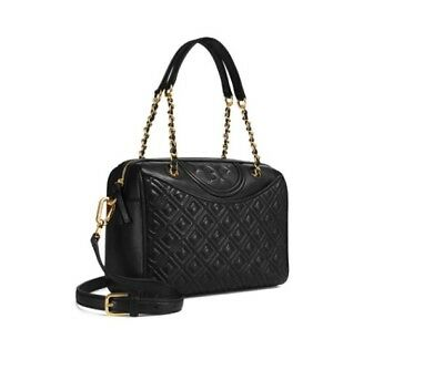 4b99f5f1b15e  ToryBurch  Fleming Duffel Bag Black Color Fast Shipping with Free Pouch  Gift