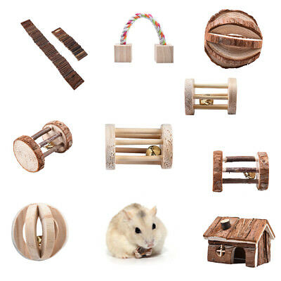 Cute Wooden House Cage Exercise Toy Hamster Hedgehog Mouse Rat Guinea Pig KU