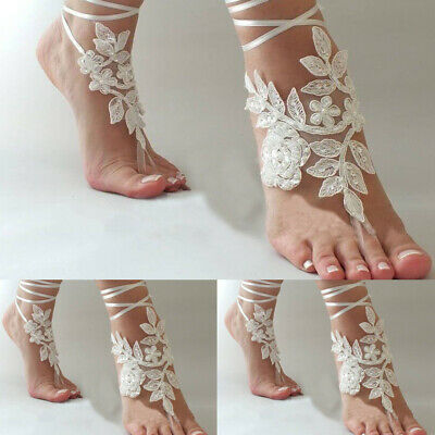 3c6c1f62acf1 White Ivory Wedding Anklet Lace Beach Foot Chain Barefoot Sandals Bridal  Jewelry