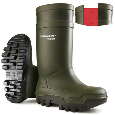 Dunlop Purofort Thermo+ Orange/Green Full Safety Wellingtons C662343/C662399/