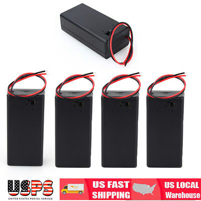 5X 9V Volt PP3 Battery Holder Box DC Case w/ Wire Lead ON/OFF Switch Cover US